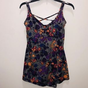 REi S athletic tunic tank purple gray print